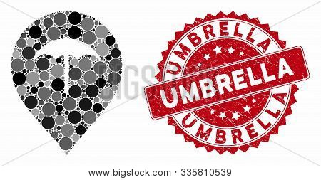 Collage Umbrella And Rubber Stamp Seal With Umbrella Phrase. Mosaic Vector Is Formed With Umbrella I