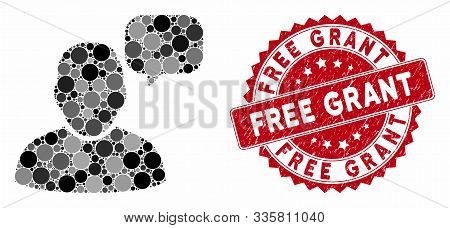 Mosaic User Message Cloud And Rubber Stamp Seal With Free Grant Caption. Mosaic Vector Is Composed F