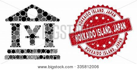 Mosaic Yen Bank Building And Grunge Stamp Watermark With Hokkaido Island, Japan Caption. Mosaic Vect