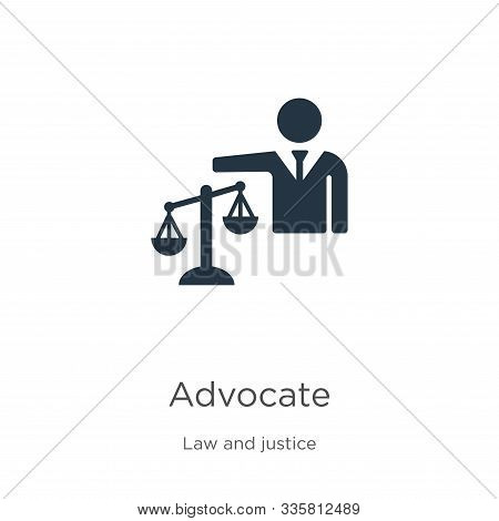 Advocate icon vector. Trendy flat advocate icon from law and justice collection isolated on white background. Vector illustration can be used for web and mobile graphic design, logo, eps10 poster