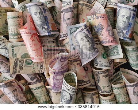 Honduran Banknotes And American Dollar Bills Unorganized