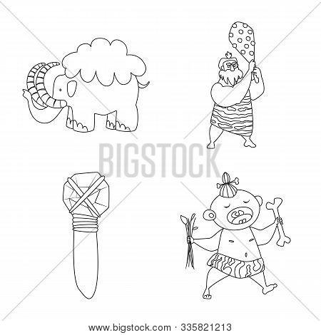 Vector Illustration Of Primitive And Archeology Symbol. Collection Of Primitive And History Stock Ve