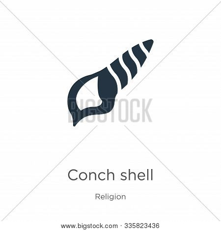 Conch Shell Icon Vector. Trendy Flat Conch Shell Icon From Religion Collection Isolated On White Bac