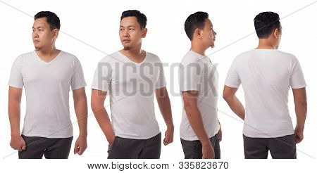 White V-neck T-shirt Mock Up, Front, Side And Back View, Isolated. Male Model Wear Plain White Shirt