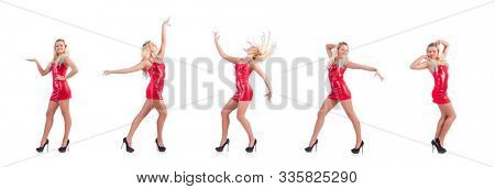 Blondie in red sparkling mini dress isolated on white