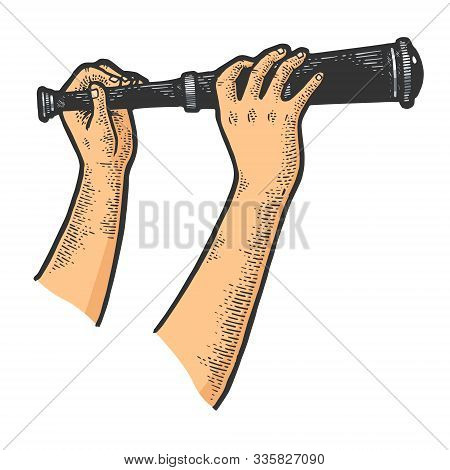 Spyglass Monocular Telescope In Hands Sketch Engraving Vector Illustration. Scratch Board Style Imit