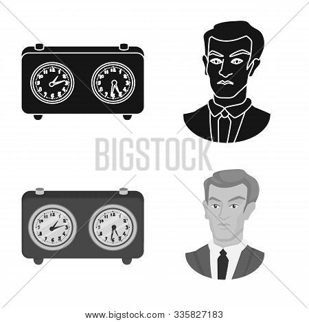 Vector Illustration Of Checkmate And Thin Logo. Collection Of Checkmate And Target Vector Icon For S