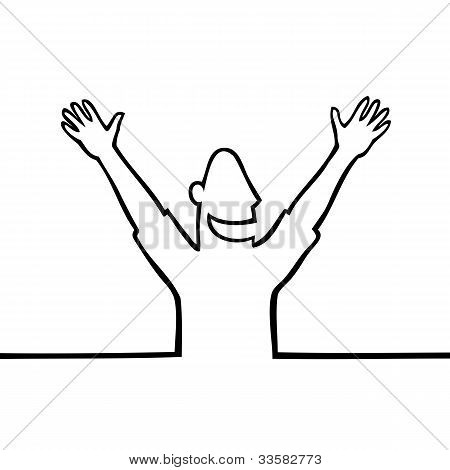 Happy Man With Hands In The Air