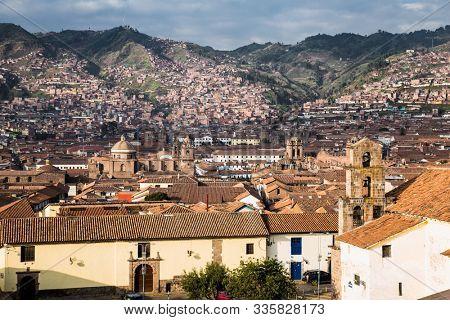 Rooftop Buildings of Cusco City ,  Peru. South America.