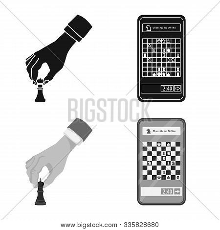 Vector Illustration Of Checkmate And Thin Icon. Collection Of Checkmate And Target Stock Symbol For