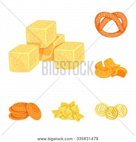 Vector Illustration Of Food And Crunchy Sign. Set Of Food And Flavor Vector Icon For Stock.