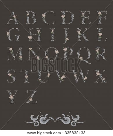 Set Of Floral Botanical Alphabet.,hand Crafted Retro Typeface., Black And White Vector Typescript Ma