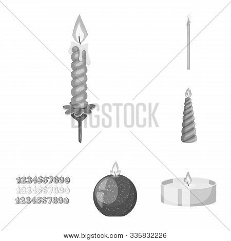 Vector Illustration Of Paraffin And Fire Sign. Set Of Paraffin And Decoration Stock Symbol For Web.