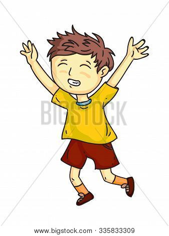 Happy Smiling Child Cheerfully Joyfully Jumping, Laughing, Screaming Cartoon. Playful Boy. Happiness