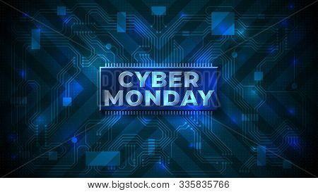 Cyber Monday Sale Flyer. Cyber Monday Banner. Special Offer Price Sign. Technology Background, Compu