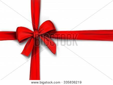 Red Ribbon With Bow Isolated On White Background, Gift Wrapping, Art Illustration Painted With Water