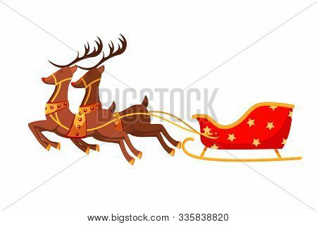 Santa Claus Sleigh Flat Vector Illustration. Empty Magic Sledge With Harnessed Reindeers Side View.
