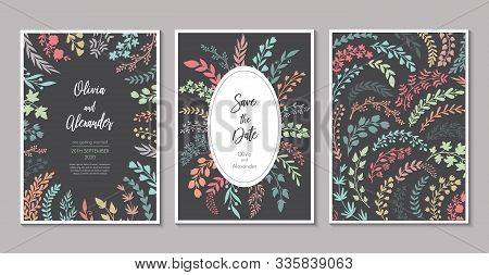 Vector Wedding Collection. Templates For Invitation, Save The Date Card.