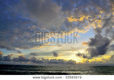 Landscape Ocean When Son Going Down