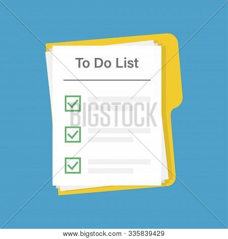 To Do List On Document On Blue Background. Planing Icon Concept. All Tasks Are Completed. Paper Shee