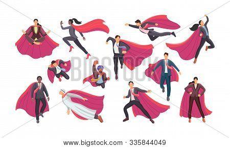 Set Businessman And Businesswoman Superhero Actions Running Flight.