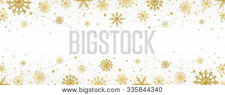 Gold Snowflakes Frame On White Background. Golden Snowflakes Border With Different Ornaments. Luxury