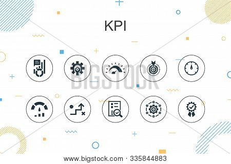 Kpi Trendy Infographic Template. Thin Line Design With Optimization, Objective, Measurement, Indicat
