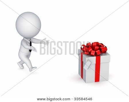 3d small person running to a gift box.