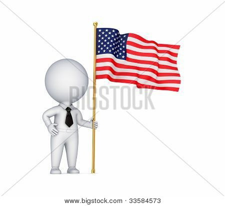 3d small person with American flag in a hand.Isolated on white background. poster
