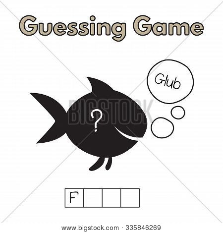 Cartoon Fish Guessing Game. Vector Illustration For Children Education
