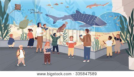 Children In Oceanarium Flat Vector Illustration. Parents And Kids Looking At Ocean Fishes Cartoon Ch