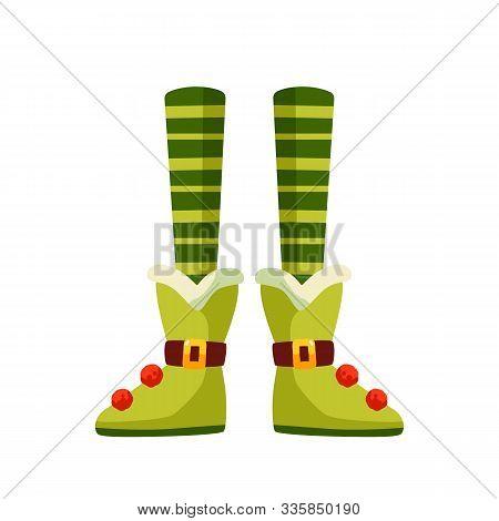 Christmas Elf Legs Flat Vector Illustration. Xmas Leprechaun, Santa Helper Cartoon Character. Pixie