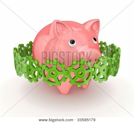 Colorful gears around pink piggy bank.