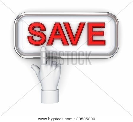 Cursor pushing button SAVE.Isolated on white background.3d rendered. poster