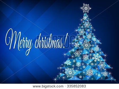 Merry Christmas Greeting With Abstract Christmas Tree - Vector Illustration