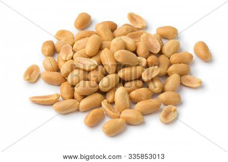 Heap of peeled salted peanuts isolated on white background