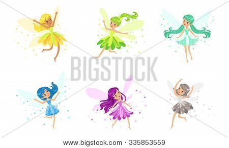 Set Of Flying Pixies Of Many Colors And Poses Vector Illustration Cartoon Character