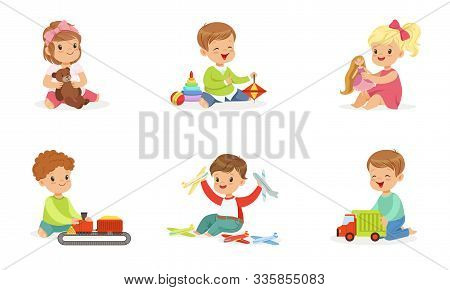 Toddlers Play With Different Toys. Vector Illustration.