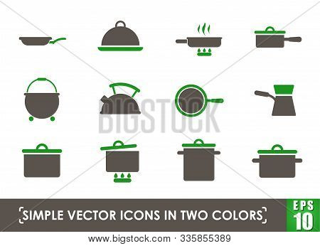 Dishes Simple Vector Icons In Two Colors
