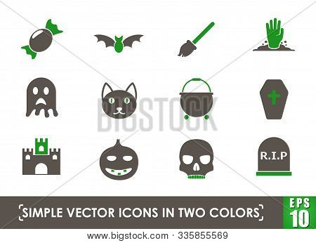 Helloween Simple Vector Icons In Two Colors