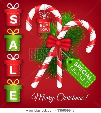 Merry Christmas Promotional Poster Vector, Special Discounts And Sales From Shops. Proposals For Cli