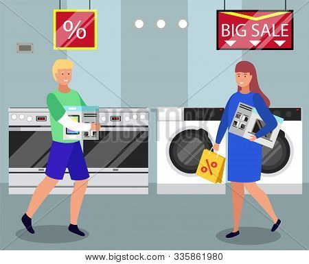 People Buying Washing Machine, Microwave Oven And Tablet On Sale. Man Carrying Tablet In Package And