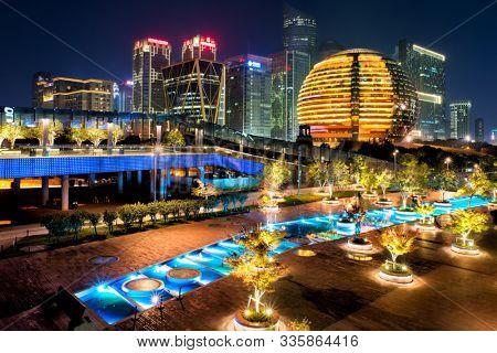 Night view of illuminated Qianjiang New Town, Hangzhou, Zhejiang, China