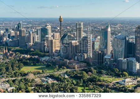Sydney City Cityscape Aerial View Landscape With Offices And Domain. Central Buisiness District Offi