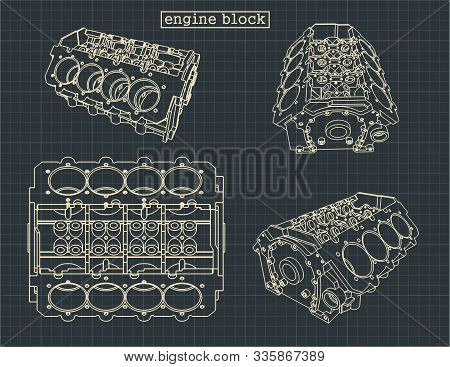Stylized Vector Illustration Of The Drawings Of The Cylinder Block Of The V-engine