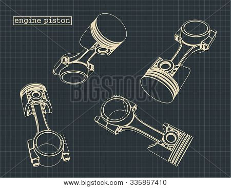 Stylized Vector Illustration Of The Drawings Of The Internal Combustion Engine Pistons