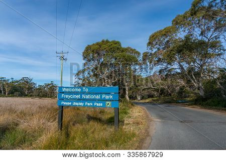 Tasmania, Australia - July 21, 2014: Welcome Board With Information At The Entrance To Freycinet Nat