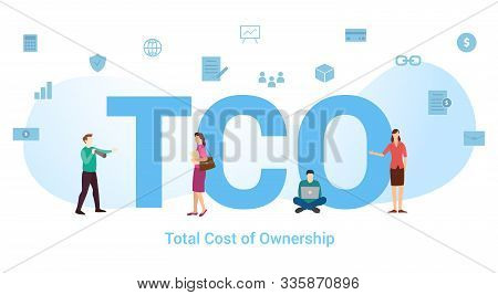 Tco Total Cost Of Ownership Concept With Big Word Or Text And Team People With Modern Flat Style - V