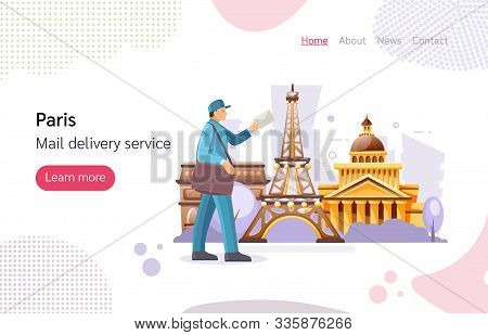 French Postman Work Courier With Bag Delivering Correspondence