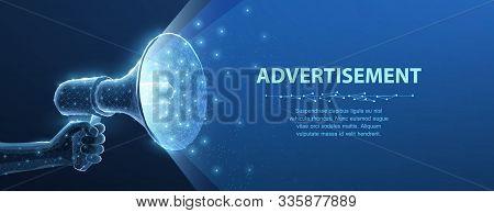 Bullhorn. Abstract 3d Megaphone On Blue Background. Communication, Announcement Message, Shout Speec